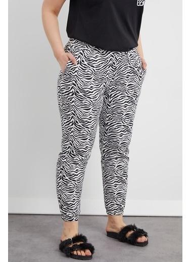 Curly Zebra Desen Eşofman Altı Siyah